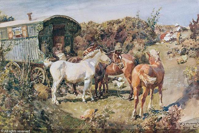 Alfred James Munnings, 1878, Gypsy Camp with Horses...