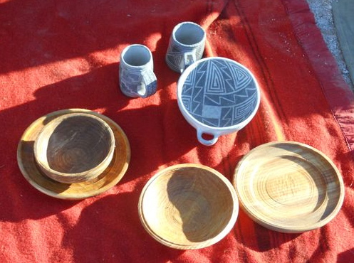 Ceramics by Roger Dorr, Woodwork by Mick Robins.
