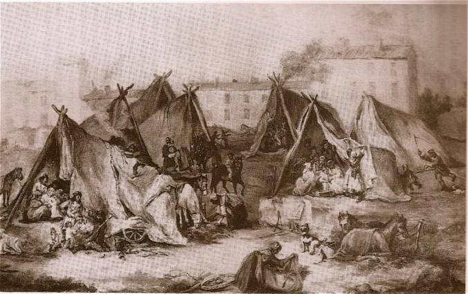 A Romany camp.