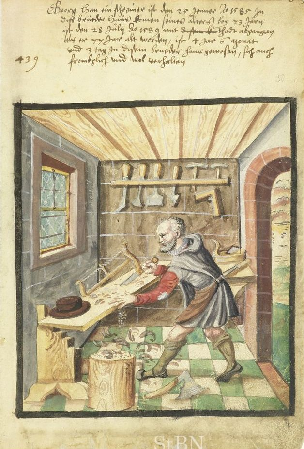 Carpentry Carpenter Woodworker Woodworking Wooden: Carpenter, 15th-16th Century