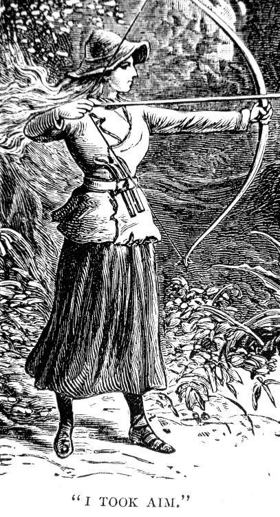 """I Took Aim"" From the short story 'Robina Crusoe', The Girl's Own Annual, 1883."