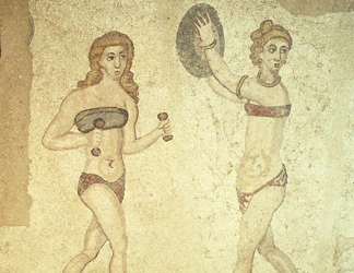 Sicily, Mosaic: Women exercising in 'bikinis', from the Room of the Ten Dancing Girls (first quarter 4th century AD)