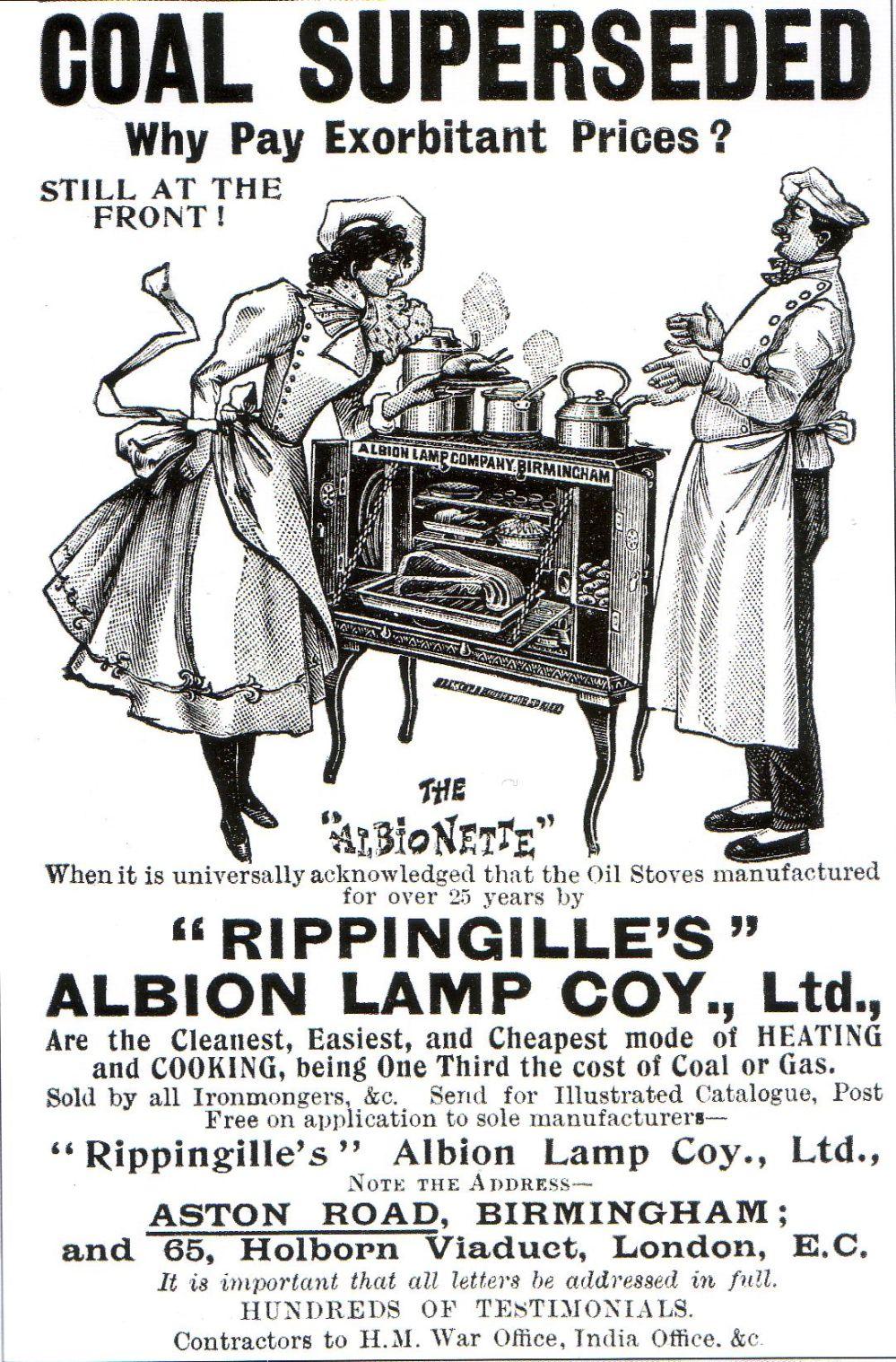 Rippingille Albion Lamp Coy, advert ca. 1900.