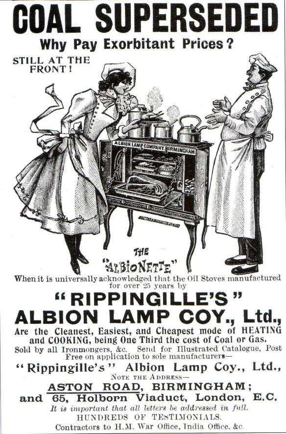 Rippingille Albion Lamp Coy, advert ca. 1900.