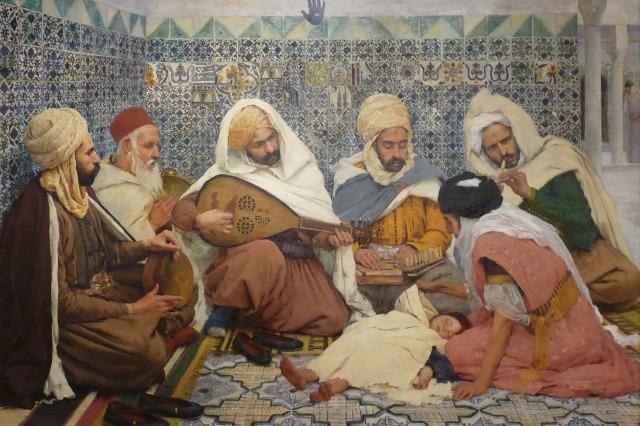 L'exorcisme:Musiciens arabes chassant les djinns du corps d'un enfant - Andre Brouillet 1884