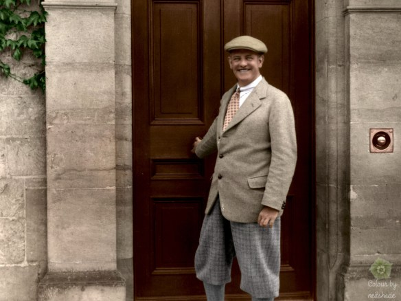 Color-tinted image of P. G. Wodehouse in his prime.