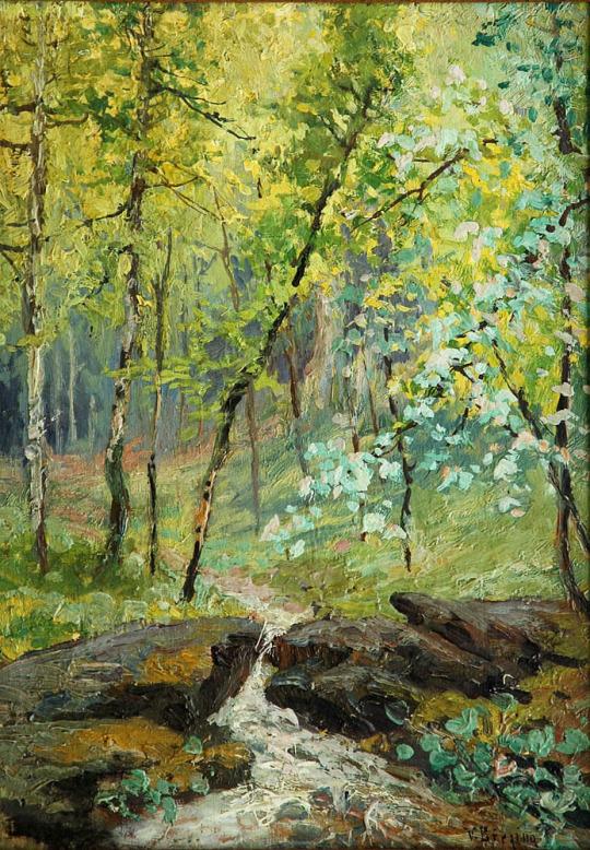 Potůček v lese / Creek in the woods, 1900, Březina Václav. Czech (1862 - 1906).