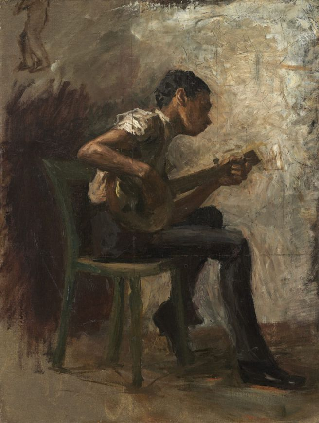 """Study for """"Negro Boy Dancing"""": The Banjo Player, probably 1877, Thomas Eakins"""