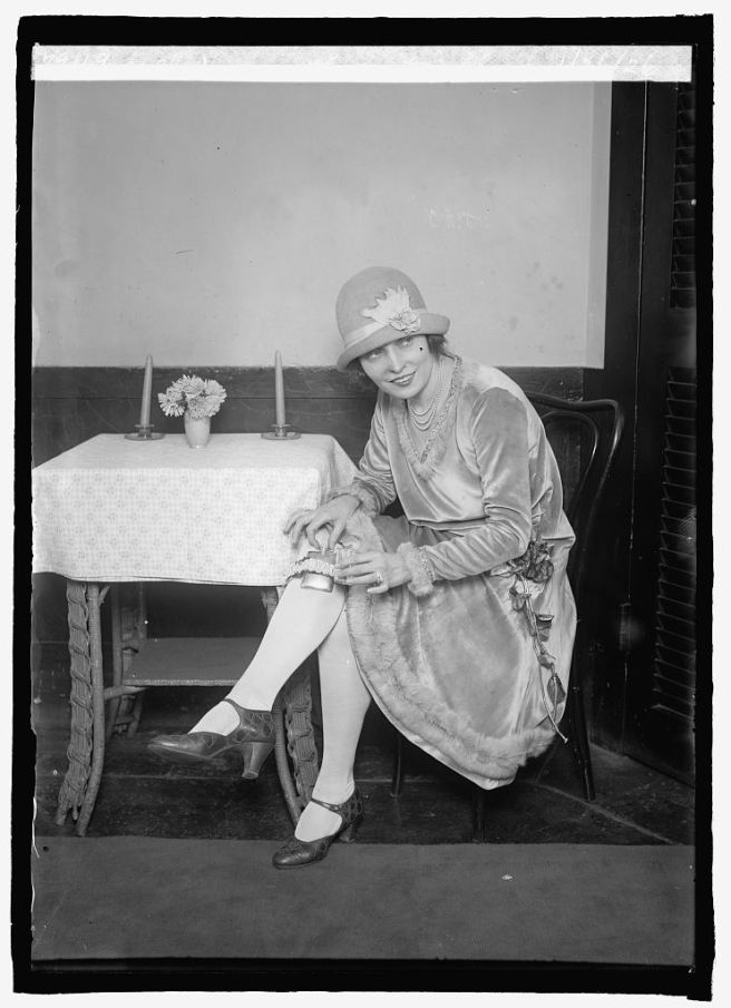 Mlle. Rae with garter flask, 1/26/26.