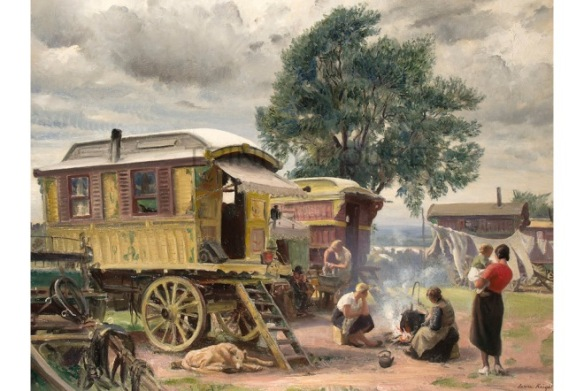 Dame Laura Knight, Gypsy Caravans, 1935. LONDON.- Trinity House.