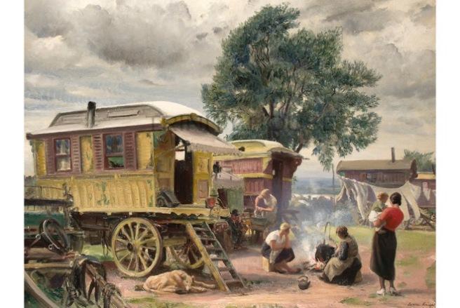 Dame Laura Knight, Gypsy Caravans, 1935. LONDON.- Trinity House.