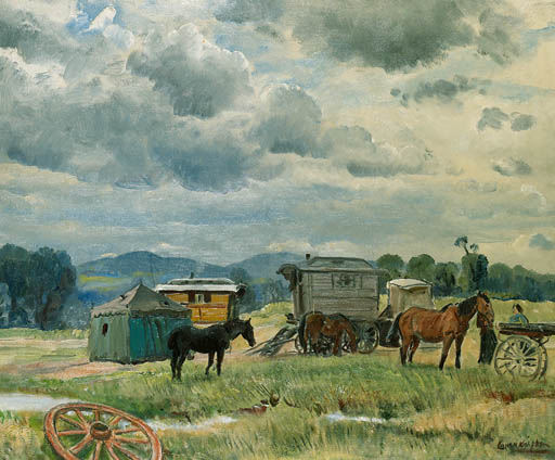 Gypsy Camp, ca 1938, Dame Laura Knight.