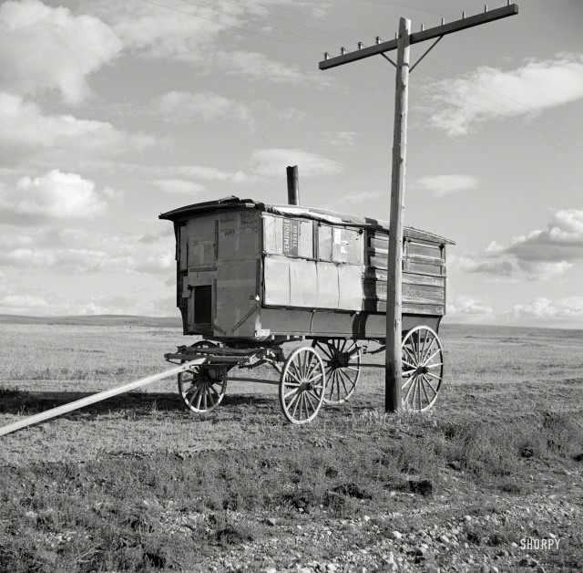 """October 1937. """"Old school bus. Williams County, North Dakota."""" Medium-format negative by Russell Lee for the Farm Security Administration."""