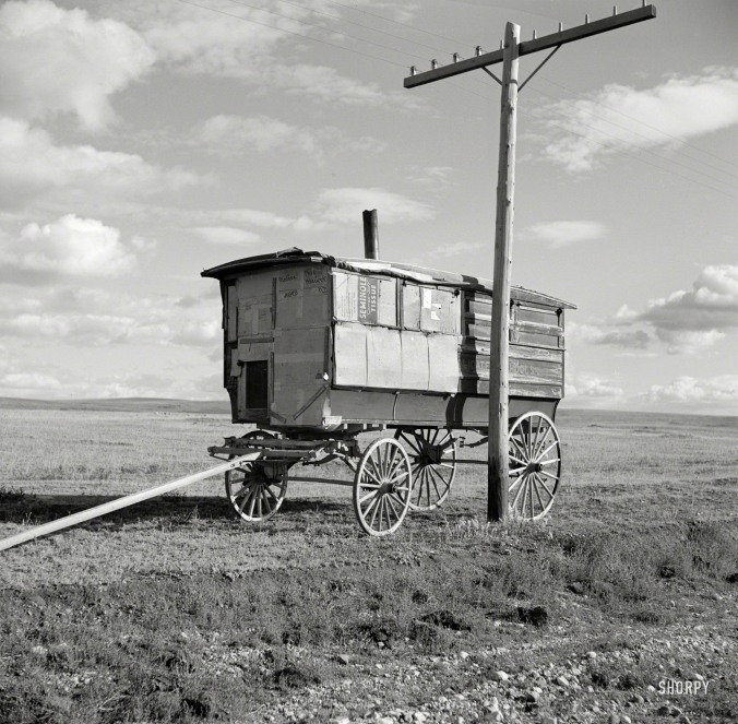 "October 1937. ""Old school bus. Williams County, North Dakota."" Medium-format negative by Russell Lee for the Farm Security Administration."