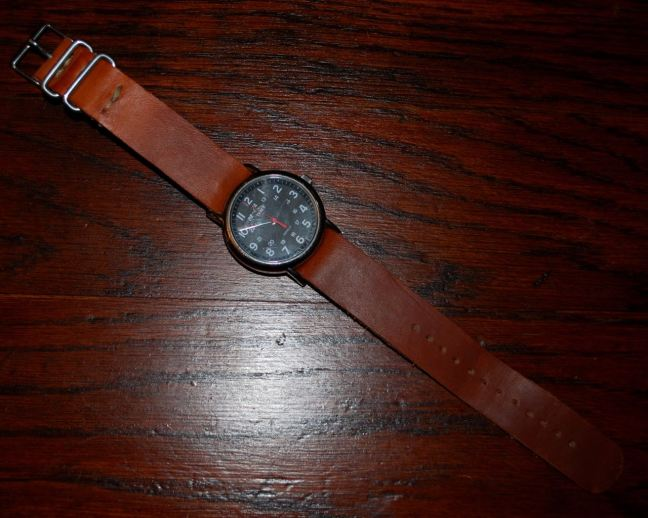 NATO style leather watch band