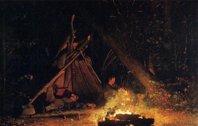 Camp-Fire-1877-1878-Homer-Winslow-Oil-Painting
